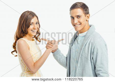Beautiful couple on white background