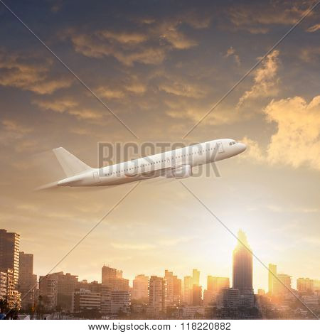 View of Benidorm at dawn, Costa Blanca, Spain
