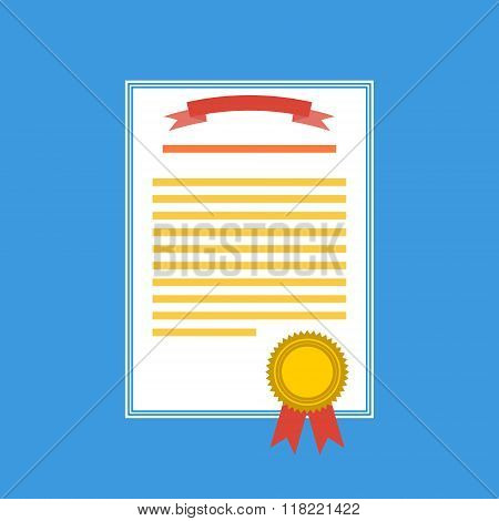 Vector Illustration. Flat Background With Hand And Winners Certificate. Business Award