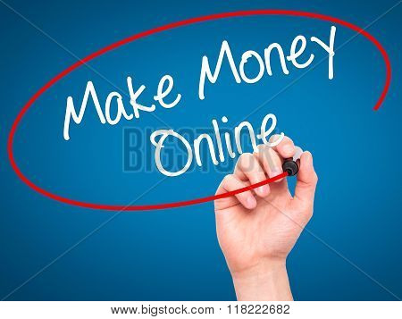 Man Hand Writing  Make Money Online  With Black Marker On Visual Screen