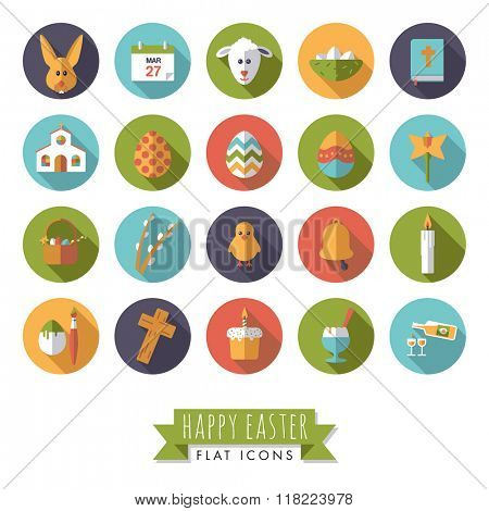 Easter Flat Design Round Vector Icon Set. Collection of 20 Happy Easter Flat Design Icons in Circles