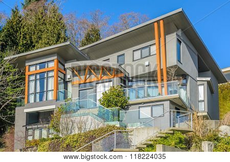 Luxury house at sunny day in Vancouver, Canada.
