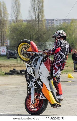 SZCZECIN, POLAND - 12 April 2014: Motorcycle stunts, show in MTS Szczecin
