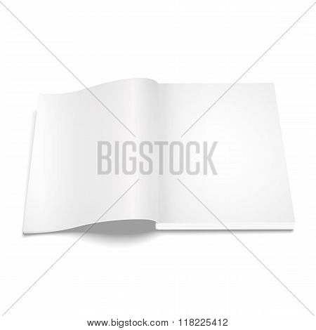 Blank opened magazine template on white background