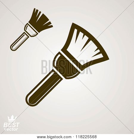 Stylized vector repair instrument, simple paint brush for whitewash includes additional version. Industry tool isolated on white background.