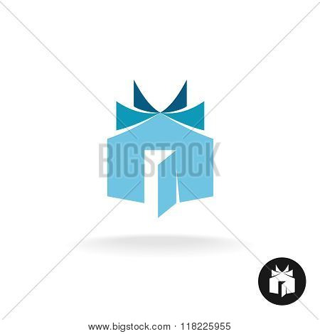 Books House Idea Logo Template. House Building With Open Book Sheets Sign.
