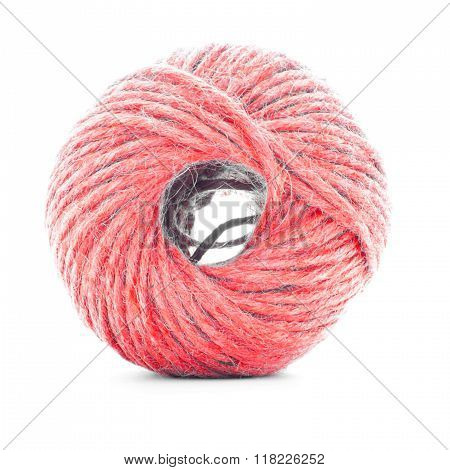 Red braided skein, sewing thread ball isolated on white background