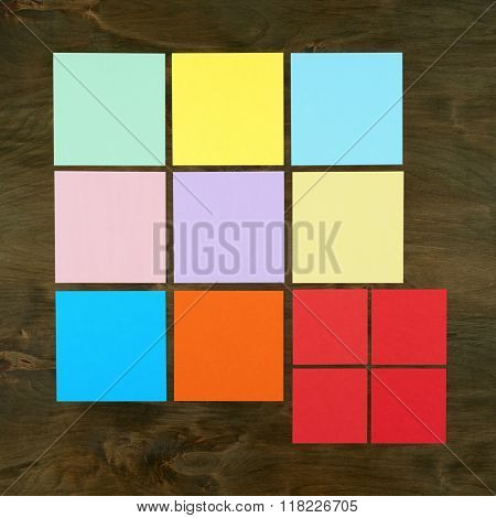 Color bar from paper sticker on wood background in square frame form . Flat design and top view of interface menu concept on desk.