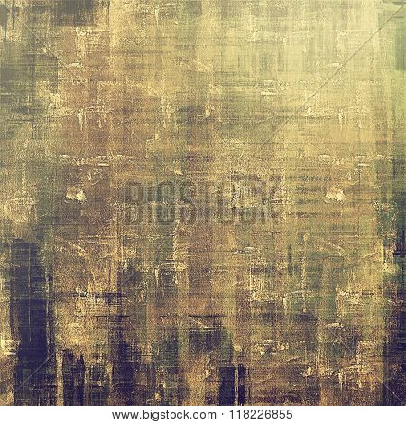 Old vintage background with retro-style elements and different color patterns: yellow (beige); brown; green; gray