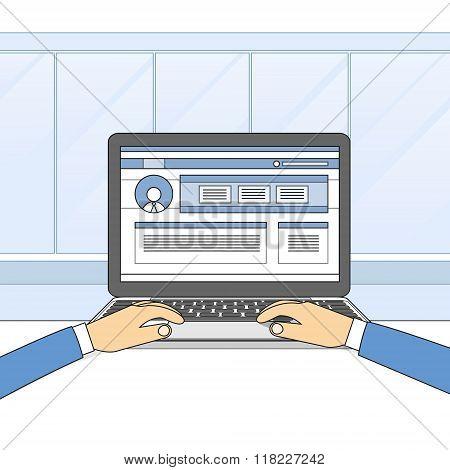 Laptop Computer Hands Type Working Using Computer