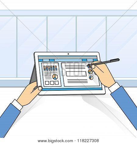 Hands Holding Tablet Computer Write Modern Technology