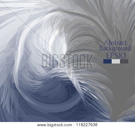 Macro Feathers. White, Grey, Dark Blue.