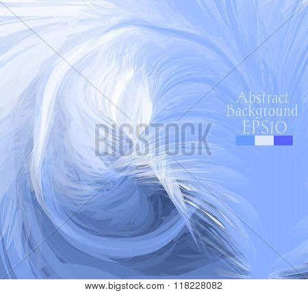 Macro Feathers. White, Blue, Dark Blue.
