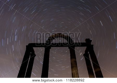 Nice night landscape with the sky full of stars