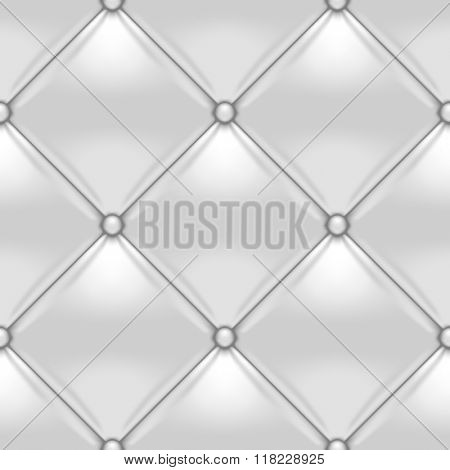 White button-tufted leather background. White upholstery seamless pattern