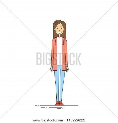 Young Girl Hipster Casual Clothes Full Length