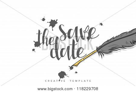 Design wedding postcard with ink spots, feather and calligraphy congratulation