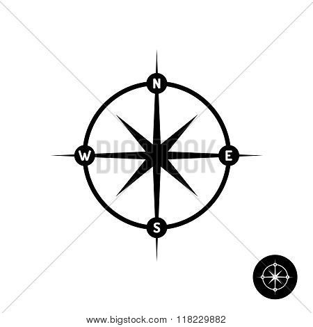 Wind Rose Star Logo With Heading Letters And Circle Frame. Simple Black Color Style.