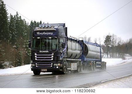 Purple Scania R500 Tank Truck On Rainy Day