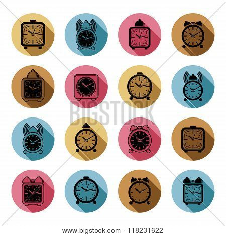 Simple alarm clocks with clock bell decorative wake up vector icons collection. Graphic design elements time idea.
