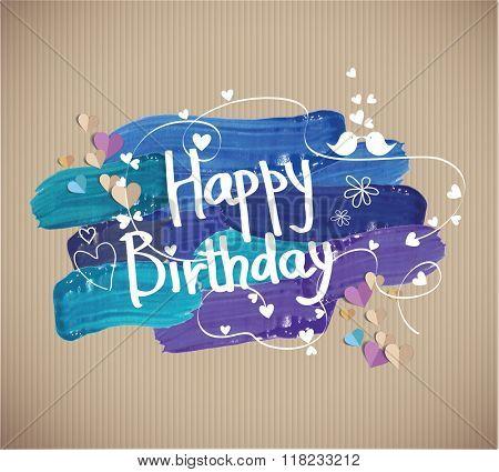 Happy Birthday  text on gouache smears
