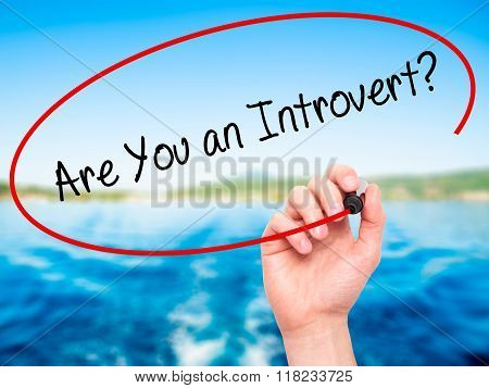 Man Hand Writing Are You An Introvert? With Black Marker On Visual Screen