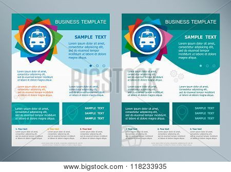 Taxi Icon  On Abstract Vector Flyer