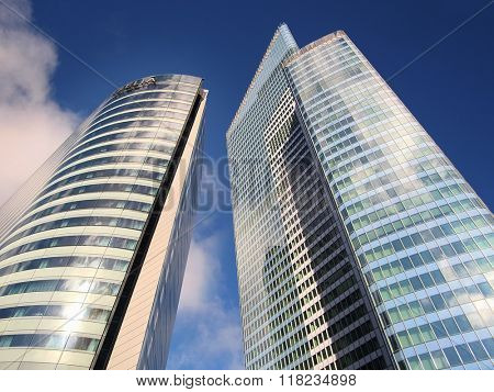 Defense, Paris, France, February 9, 2016: sky-scrapers in a Paris district Defense. Because of it's modern architecture this district is called the Paris Manhattan