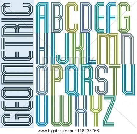 Retro colorful geometric font with parallel triple lines decorative poster letters.