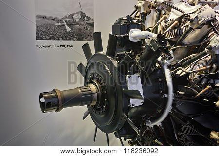 Munich, Germany - Augist 2014; Bmw Engine Of Focke-wilf 190 On Display In Bmw Museum.