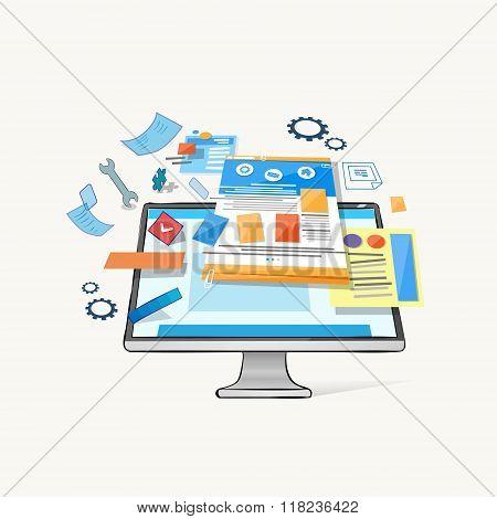 Modern Computer Desktop Monitor Application Icons