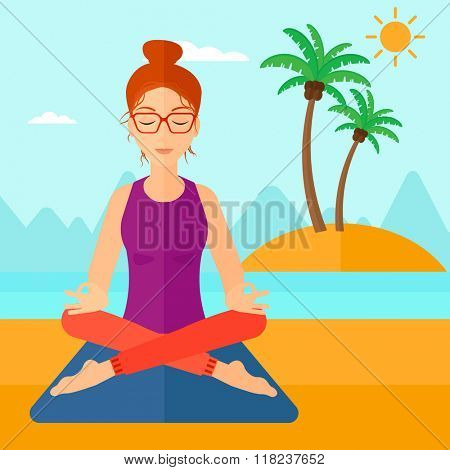 Woman meditating in lotus pose.