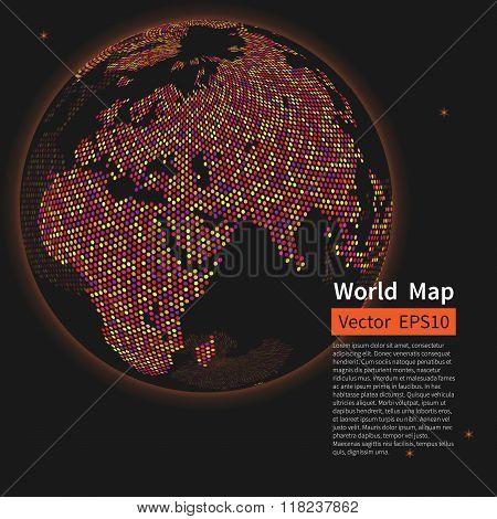 Dotted World Map Background. Night Earth Globe. Globalization Co