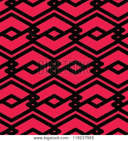 Red geometric seamless pattern symmetric endless vector background with intertwine lines. Abstract concept splicing covering.
