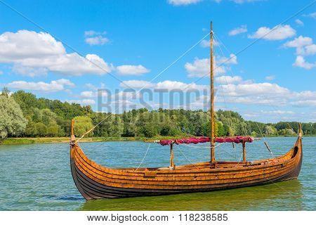 Vintage Wooden Viking Boat On The Lake