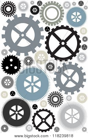Different gear wheels background