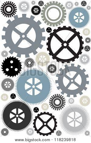Different gear wheels background