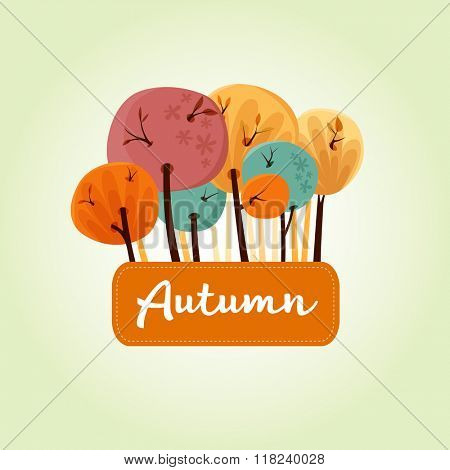 Beautiful autumn trees banner