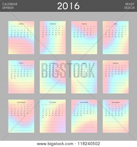 Modern calendar 2016 with colorful hologram in Spanish