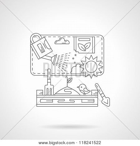 Plant cultivation detail line vector icon