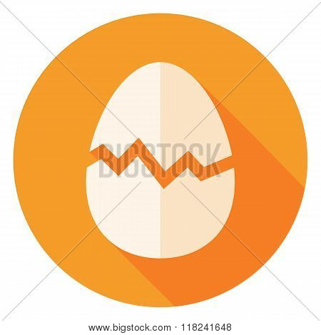 Egg With Broken Eggshell Circle Icon