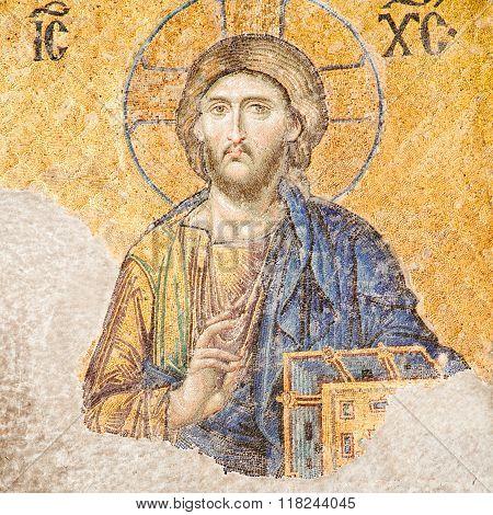 Istanbul Turkey - June 24 2015: Jesus Christ mosaic at Hagia Sophia