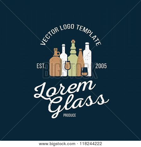 Vector logo design template in trendy style. Wine, beer and water bottle graphic logotype element. C