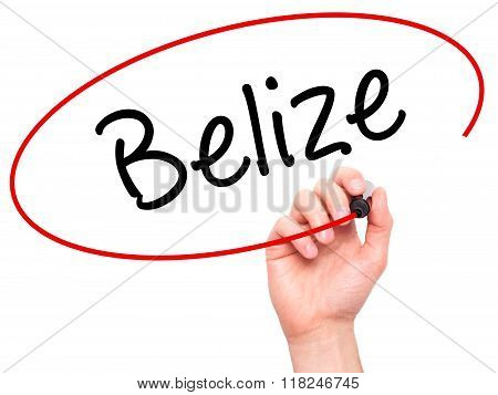 Man Hand Writing Belize With Black Marker On Visual Screen