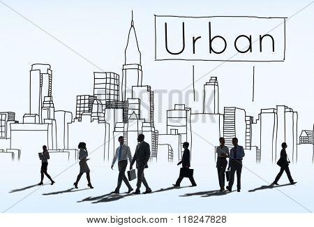 Urban Architecture Construction Cosmopolitan Concept