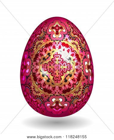 Colorful Single Vector Easter Egg with Abstract Colorful Pattern - Beautiful Close Up Design with Smooth Shadow on the Ground. Gold and bright pink ornate pattern on vineus egg.