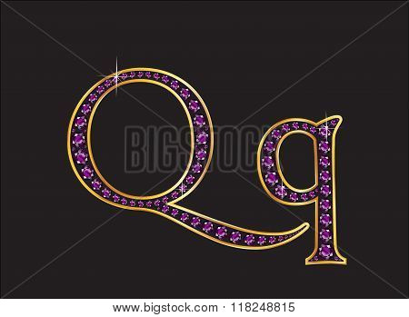 Qq Amethyst Jeweled Font With Gold Channels