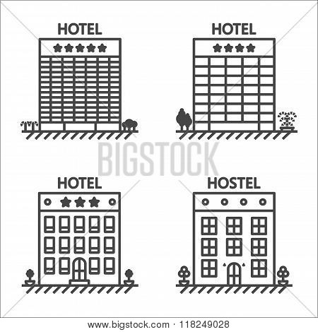 Hotels and hostel line vector icon set