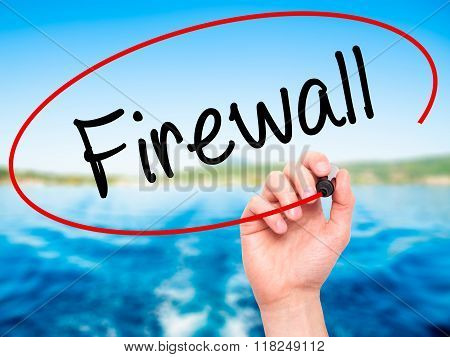 Man Hand Writing Firewall  With Black Marker On Visual Screen
