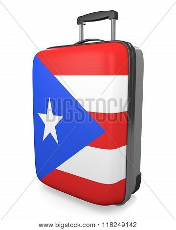 Puerto Rico vacation destination concept of a flag painted travel suitcase